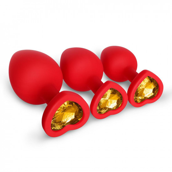 yellow gem red silicone butt plug set